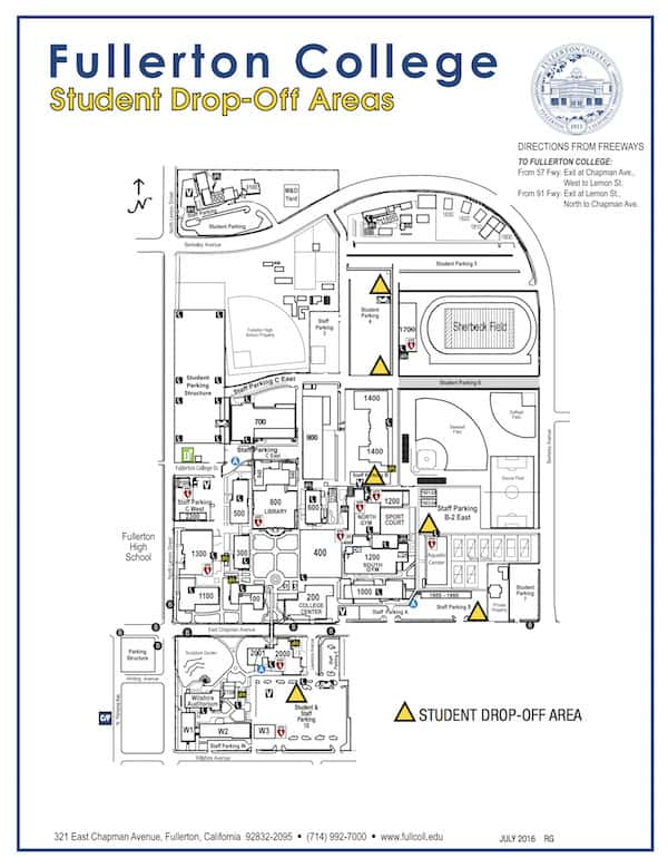 FIND FULLERTON COLLEGE STUDENT DROP OFF AREA MAP