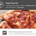 Papa Pizza Pie is listed on Find Fullerton